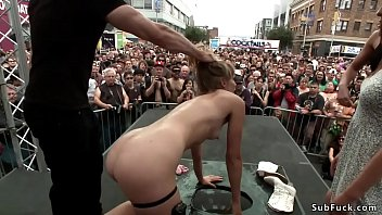 Ariel X and Bill Bailey make sexy blonde slave Mona Wales suck and fuck in public restroom then d. her outdoors at folsom street fair