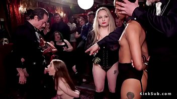 Huge tits blonde mistress a host at bdsm orgy party controls her slaves