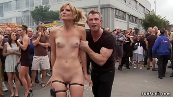 Deep throat blonde slave Mona Wales is tormented and fucked with huge dicks in group in men rest room then outdoor humiliated and public d.