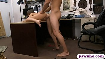 Amateur brunette babe gives a nice blowjob and gets her sweet muff rammed by nasty pawn man at the pawnshop