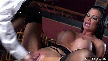 Stunning brunette waitress jasmine jae is taught how to squirt