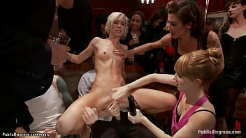 Brunette MILF lezdom Princess Donna Dolore vibrates pussy to blonde Maia Davis while strangers groping her then Mark Davis fucks her at public party