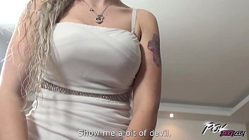 Bustly blonde titty fucked hard after loud orgasm