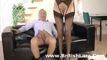 UK milf and older guy in nylon 3some