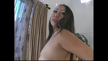 Asian hottie Asami Urano fingers her snatch then rides thick cock