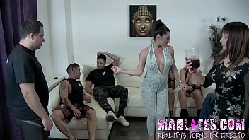 Masked babe takes out her mask and ends up having a GROUP SEX SESSION every guest Thumbnail