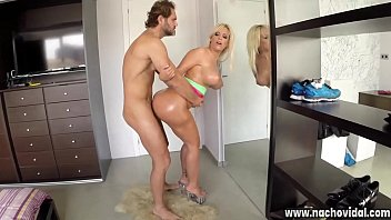 She squeezes Nacho's dick between her booty, and soon he fucks her from behind. She bounces her fat ass while riding her thick cook, and her buttocks are dotted with jism.