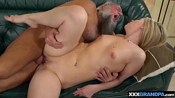 Small titted blondie sucks and fucks a dirty old man