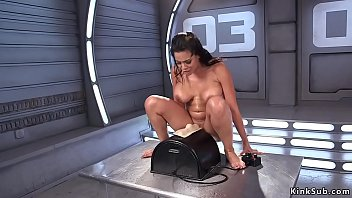 Huge fake tits solo squirter Luna Star takes in wet pussy big cock fucking machine and rides it in different positions then continues with Sybian