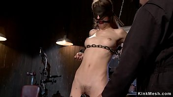 Skinny brunette slave is tormented by master and gagged and ass whipped in different device bondage positions Thumbnail