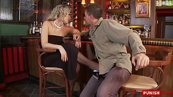 Curly slut Daria Glower takes cock at the bar