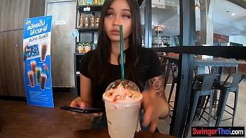 Big round ass Asian teen amateur fucks after a coffee date