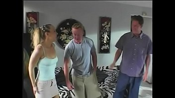 Beautiful blonde MILF with perfect body Julie Night takes two cocks in her holes