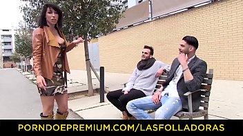 LAS FOLLADORAS - Silicone boobs inked doll rides cock