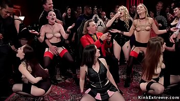 Four hot slaves tormented at birthday celebration swingers party and licking and toying then getting big dicks in pussies