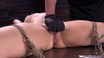 Gagged hot brunette in strict rope bondage getas pussy rubbed