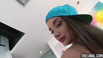 Cute brunette with an amazing bubble butt gets ass fucked and filled up with cum