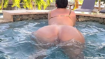 Crystal lust relaxing her big ass at the pool and gets fucked by the pool boy