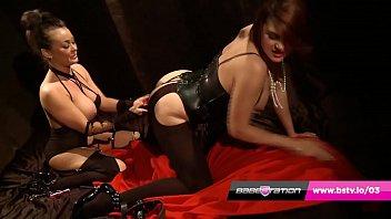 UK lesbians Amanda & Karina fucking in leather and lingerie