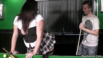 Fat bar girl sucks cock and fucked on pool table