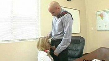 Horny schoolgirl gives teacher blowjob