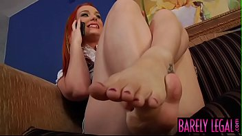 Young redhead dicked hard after footjob
