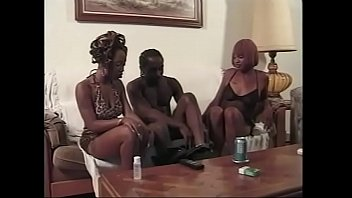Couple of sexy ebony whores suck black cock and ride it by their twats