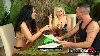Two busty German ladies take turns getting fucked