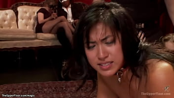 Big tits brunette Asian Mia Little and blonde slut Carter Cruise are throats fucked and disciplined then anal fucked at bdsm orgy party