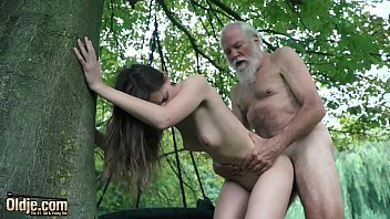Sexy y. deepthroats old man cumshot after she fucks him super hard and kinky