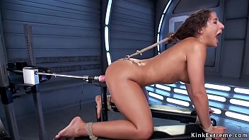 Shaved pussy solo brunette hottie Abella Danger in rope bondage in bed vibrates clit then butt plugged with spreaded legs gets fucking machine