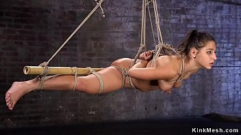 Hot gagged brunette babe gets pussy rubbed then in suspension