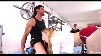 Alexa grace with trainer during workout