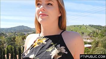 Horny milf flashing nude in public