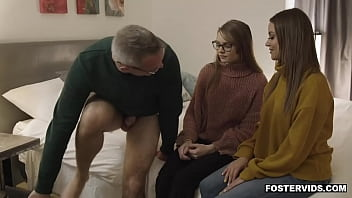 Teen shares intimate family 3some with foster parents