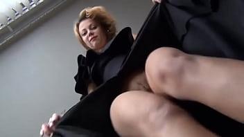 legs show blonde dark dress
