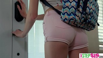 Petite teen stepsister makes her stepbrother bang her