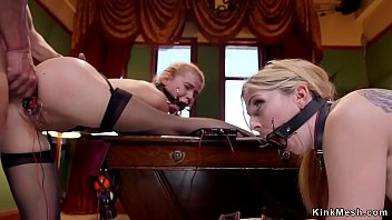 Marco banderas gets blowjob from sexy blonde slave in threesome bdsm - Awesome slave Mp4 clips Thumbnail