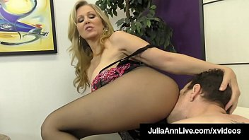 Big Titty Milf Julia Ann teases a limp cock, saying some pretty bad things, until he fucks her pantyhosed legs & feet with a warm happy cum shot on Julia! Full Video & Julia Live @ JuliaAnnLive.com!