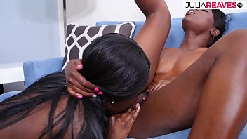 Two sweet black women lick their pussies wet
