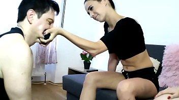 Two hot brat girls humiliate slave Bobby