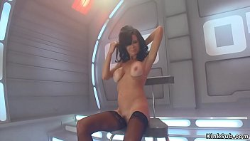 Big fake tits brunette Veronica Avluv in black stockings anal masturbates with huge black dildo then takes monster cock machine up her ass Thumbnail