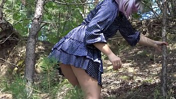 Fetish for fans to peek under the skirt outdoors. Naked juicy butt and overgrown cunt conquer the mountains.