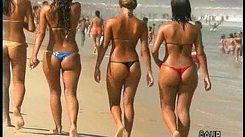 Brazilian and Italian girls in thong bikinis