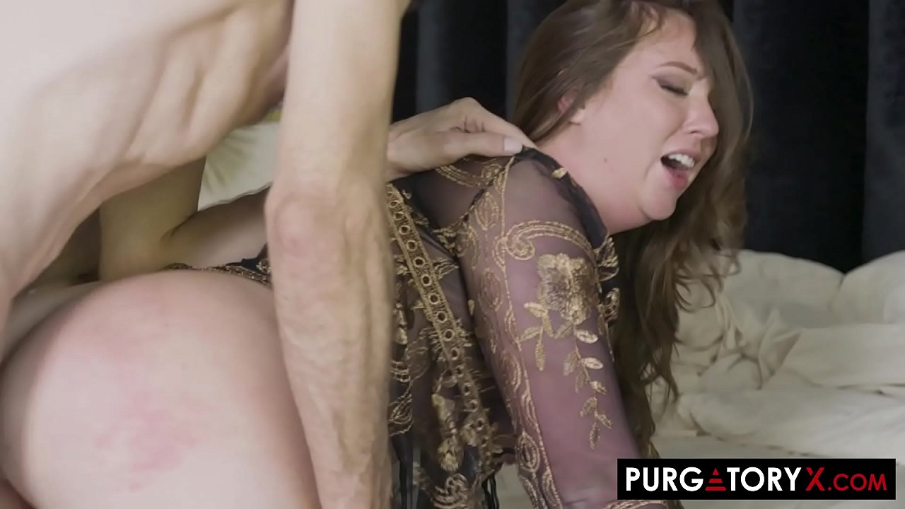 Sexy brunette with big boobs fucks her husband in bed