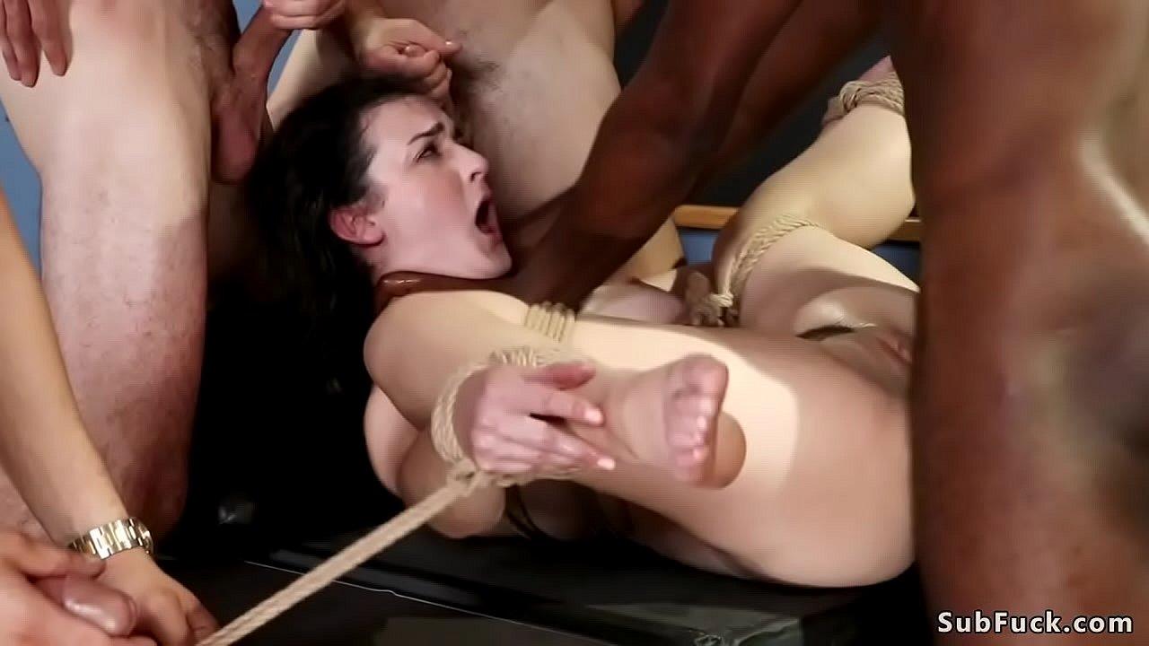 Stunning Brunette Throat Fucked In Class