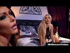 Beautiful Lesbian Lovers Nikki Benz & Jessica Jaymes spread their shapely legs so they can tongue each other's sweet juicy pussies!