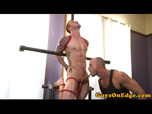 Cocksucking stud dominated over by dom