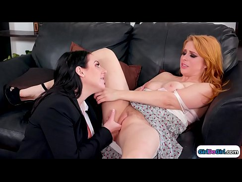 Big Tits Brunette Shrink Is Willing To Help Her Busty Redhead