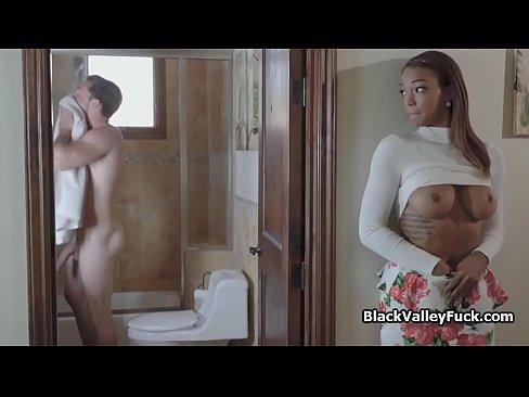 Ebony Swallows White Dick